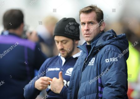 Greig Laidlaw (L) - Scotland captain discusses tactics with ex internationalist Chris Paterson ahead of tomorrows test match against Tonga Scotland captain's run, (pre-Tonga) Rugby Park, Kilmarnock, Scotland, Friday 21 November 2014. Please credit: Fotosport/David Gibson