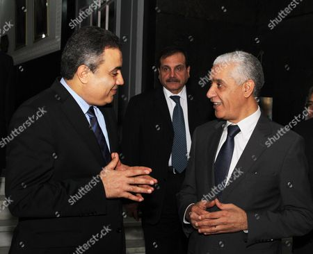 Stock Image of The Morocco new chairman of house of representatives Rachid Talbi Alami talks with Tunisian Prime Minister Mehdi Jomaa in Rabat