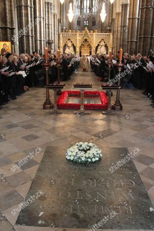 A wreath was laid on Churchills Memorial before the service to the late The Lady Soames LG DBE at Westminster Abbey, London.
