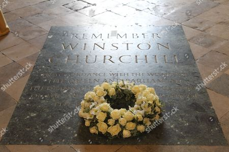 A wreath was laid on Churchills Memorial before the service to the late Tha Lady Soames LG DBE at Westminster Abbey, London.