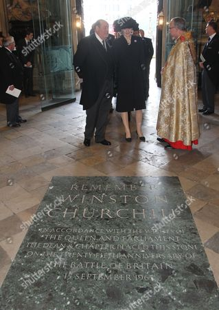 Sir Nicholas Soames at Westminster Abbey stands by the Memorial to Winston Churchill.