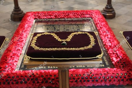 The Orders of The Lady Soames LG DBE were on display before being processed through the Abbey and laid on the High Altar at the beginning of the service.