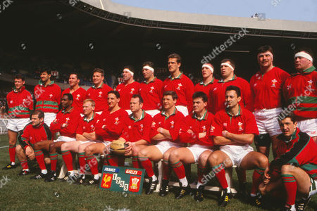 Stock Picture of Rugby Union - 1993 Five Nations Championship - France 26 Wales 10 Wales team group before kick-off at Parc des Prince, Paris, on . Back Row: Adrian Davies*, Paul Arnold*, Mark Perego, Richard Webster, Phil Davies, Emyr Lewis, Gareth Llewellyn, Andrew Lamerton, Hugh Williams-Jones, Ricky Evans, Nigel Meek*. In front: Mike Rayer*, Nigel Walker, Neil Jenkins, Rupert Moon, Ieuan Evans (captain), Scott Gibbs, Tony Clement, Nigel Davies, Robert Jones*. * - indicates a replacement