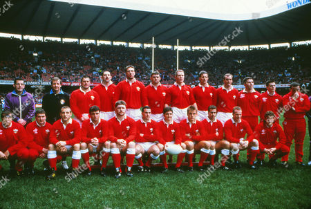 Rugby Union - 1990 Five Nations Championship - Wales 19 France 29 Wales team group before kick-off at Cardiff Arms Park on . Back Row: Colin High (Touch-judge - RFU), Fred Howard (Referee - RFU), Mike Griffiths, Phil Davies, Kevin Moseley, Andrew Allen, Mark Jones, Gary Jones, Arthur Emyr, Mark Perego*, Tony Clement*, Garin Jenkins*. In front: Hugh Williams-Jones*, Carwyn Davies*, Kevin Phillips, Mark Ring, Dai Young, David Evans, Robert Jones (captain), Mike Hall, Mark Titley, Paul Thorburn, Andy Booth*. * - indicates a replacement