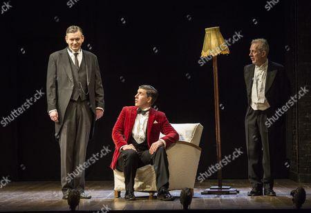 John Gordon Sinclair as Jeeves, James Lance as Bertie Wooster (red jacket) and Robert Goodale as Seppings