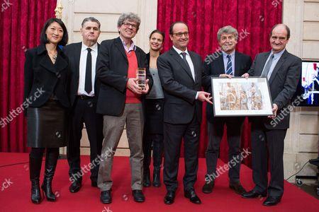 Minister for Culture Fleur Pellerin, Pierre Menes, Michel Euler, President Francois Hollande, Tina Kieffer, Alain Genestar and Pierre Lescure