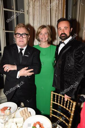 Sir Elton John, Ruth Kennedy and Evgeny Lebedev