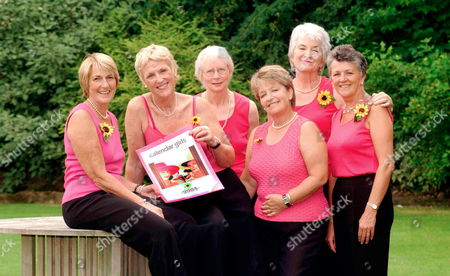 Rylstone WI Ladies at launch of 2004 Calendar at the Devonshire Fell Hotel, nr Burnsall, N Yorks.   L-R:  Lynda Logan, Ros Fawcett, Chris Clancy, Beryl Bamforth, Tricia Stewart and Angela Baker