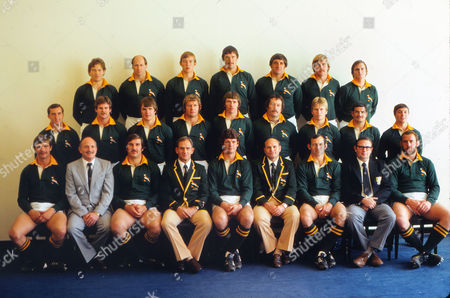 British Lions Tour of South Africa - Second Test: South Africa v Lions at Bloemfontein.  The South Africa full squad -  The players who started, in no order, were: Gysie Pienaar, Ray Mordt, David Smith, Willie du Plessis, Gerrie Germishuys, Naas Botha, Divan Serfontein, Morne du Plessis (captain), Theuns Stofberg, Rob Louw (replaced by Thys Burger), Louis Moolman, Kevin de Klerk, Martiens le Roux, Willie Kahts, Richard Prentis. Replacements: Ewoud Malan, Johan Strauss, Tommy du Plessis, Dirk Froneman, Tim Cocks.