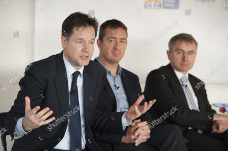 Nick Clegg, with Chris Boardman MBE, and Robert Goodwill, Transport Minister