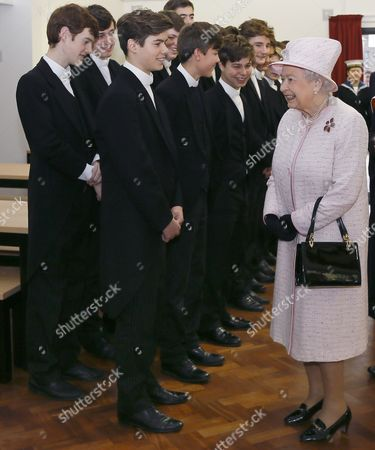 Queen Elizabeth II meets Eton pupil Arthur Chatto