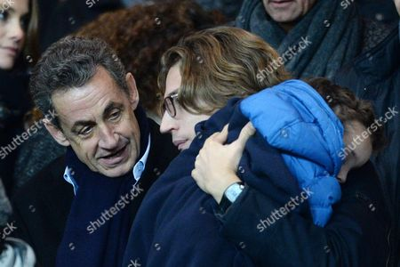 Nicolas Sarkozy with his son Jean Sarkozy and granddaughter Lola