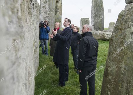 Stock Image of Deputy Prime Minister Nick Clegg with Simon Thurley, Director of English Heritage, Dame Helen Ghosh, Director-General of the National Trust and Alistair Sommerlad, Chair of the new Stonehenge and Avebury WHS Partnership Panel.