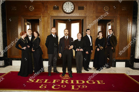 L-R: Amy Beth Hayes as Kitty Hawkins, Cal MacAninch as Mr Thakeray, Amanda Abbington as Miss Mardle, Tom Goodman Hill as Mr Grove, Jeremy Piven as Harry Selfridge, Ron Cook as Mr Crabb, Trystan Gravelle as Victor Colleano, Aisling Loftus as Agnes Towler and Gregory Fitoussi as Henri.