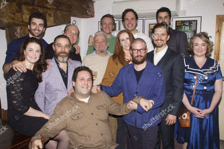 Andy Nyman (Charles Guiteau), Mike McShane (Samuel Byck), David Babani (Artistic Director), Stephen Sondheim (Music/Lyrics), Catherine Tate (Sara Jane Moore), Jamie Lloyd (Director), Aaron Tveit (John Wilkes Booth) and members of the cast attend the after party