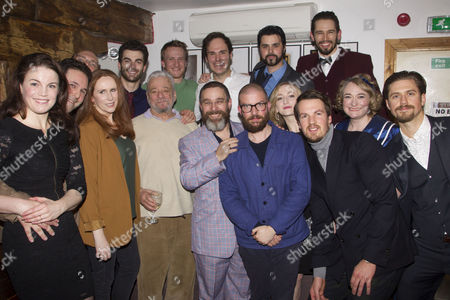 Stock Image of David Babani (Artistic Director), Mike McShane (Samuel Byck), Catherine Tate (Sara Jane Moore), Stephen Sondheim (Music/Lyrics), Andy Nyman (Charles Guiteau), Jamie Lloyd (Director), Carly Bawden (Lynette 'Squeaky' Fromme), Aaron Tveit (John Wilkes Booth) and members of the cast attend the after party