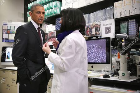 Barack Obama and Nancy Sullivan, Chief of the Biodefense Research Section