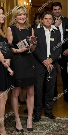 Stock Image of Tv Presenter Anthea Turner Who Arrived With Dragons Den Businessman Richard Farley Pictured At The Grassroot Diplomat Charity Event Held At The Bulgarian Embassy Building At 186-188 Queens Gate Kensington Sw7 5hl. Byline John Nguyen/jnvisuals 27/11/2013.