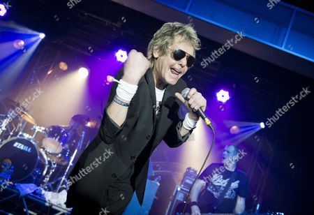 Skegness United Kingdom - January 26: Frontman Barrie Masters Of English Rock Group Eddie And The Hot Rods Performing Live On Stage At The Great British Rock And Blues Festival In Skegness On January 26