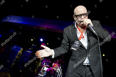 Skegness United Kingdom - January 26: Harmonicist Mark Feltham Of English Blues Group Nine Below Zero Performing Live On Stage At The Great British Rock And Blues Festival In Skegness On January 26