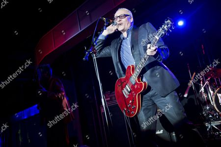 Stock Picture of Skegness United Kingdom - January 26: Guitarist And Vocalist Dennis Greaves Of English Blues Group Nine Below Zero Performing Live On Stage At The Great British Rock And Blues Festival In Skegness On January 26