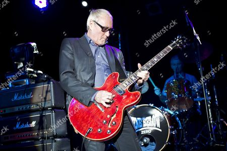 Skegness United Kingdom - January 26: Guitarist And Vocalist Dennis Greaves Of English Blues Group Nine Below Zero Performing Live On Stage At The Great British Rock And Blues Festival In Skegness On January 26