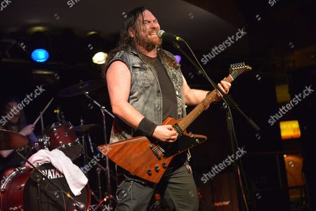 Pwllheli United Kingdom - November 29: Vocalist And Guitarist Jonny Parr Of Scottish Heavy Metal Group Attica Rage Performing Live On Stage At The 2013 Hard Rock Hell Festival In Pwllheli Wales On November 29