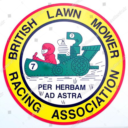 Logo of the British Lawn Mower Racing Association. The association is now in its 32nd year and started out with people running behind their mowers. It now has four different racing groups including ride on lawnmowers and tractor mowers. The association has 250 members and can boast Formula One racing legend Stirling Moss and late actor Oliver Reed among famous people who have tried the sport.