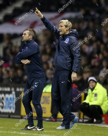 Brighton and Hove Albion's manager Sami Hyypia shouts instructions