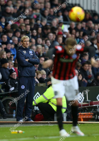 Brighton and Hove Albion's manager Sami Hyypia watches on