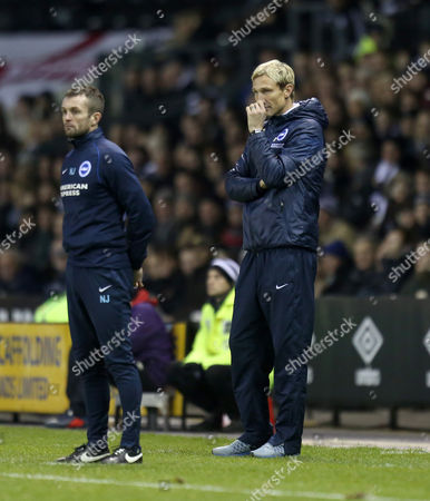 Brighton and Hove Albion's manager Sami Hyypia looks on concerned with assistant Nathan Jones