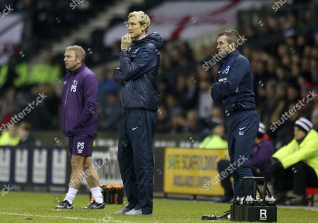 Brighton and Hove Albion's manager Sami Hyypia shows concern