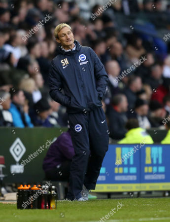 Brighton and Hove Albion's manager Sami Hyypia shows his frustration