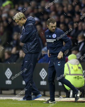 Brighton and Hove Albion's manager Sami Hyypia shows his disappointment