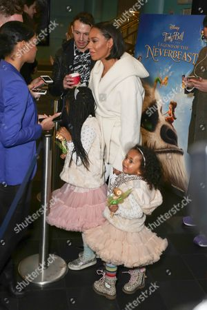 Stock Picture of Melanie Brown and children Angel Iris Murphy Brown, Madison Brown Belafonte