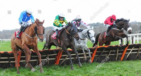 CORK JUMPTOCONCLUSIONS and Tony McCoy (2nd Left) jump the last with (L-R) Samanntom, Shesaportrait & Old Time Melody before winnng for trainer Edward O'Grady.
