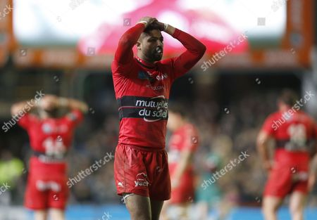 Delon Armitage reacts with frustration at the awarding of the decisive penalty