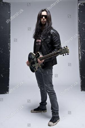 Kostas Karamitroudis aka Gus G, with his signature ESP Gus-600 Ec Electric Guitar, London