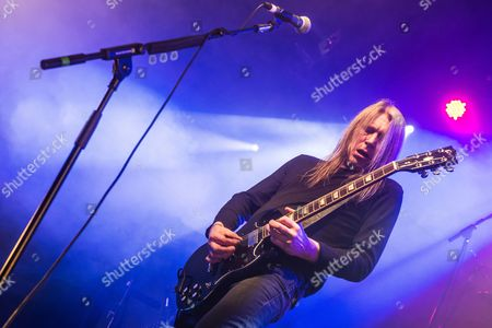 Pwllheli United Kingdom - March 16: Frontman Kevin Heybourne Of English Heavy Metal Group Angel Witch Performing Live On The Rising Sun Stage At Hammerfest Heavy Metal Festival In Wales On March 16