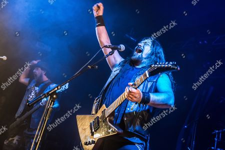 Pwllheli United Kingdom - March 15: Frontman Jonny Parr Of Scottish Heavy Metal Group Attica Rage Performing Live On The Dragon Stage At Hammerfest Heavy Metal Festival In Wales On March 15