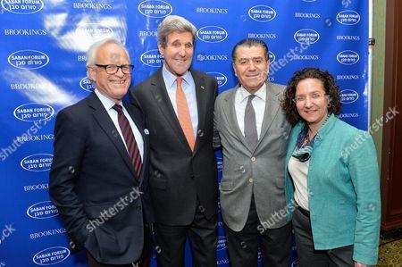 John Kerry with Ambassador Martin Indyk, Brookings' Vice President and Director of the Foreign Policy Program, and Saban Forum Chairman Haim Saban