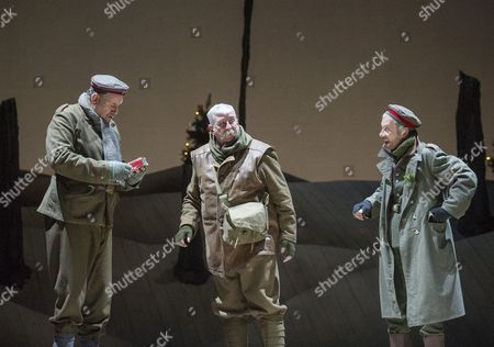 Stock Picture of Chris McCalphy as Jurgen, Gerard Horan as Old Bill, Jamie Newall as Erich
