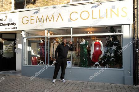 Audley Harrison outside Gemma Collins' shop