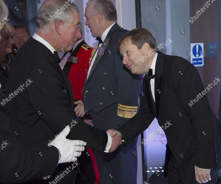Prince Charles arrives and is greeted by Sir Charles Dunstone Chairman of the National Maritime Museum
