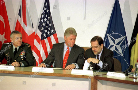 General Wesley K Clark, Bill Clinton and Javier Solana at NATO Headquarters, Brussels, Belgium - 05 May 1999
