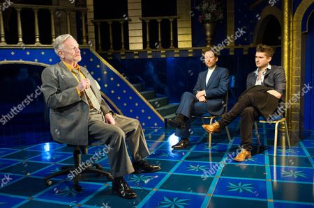 Ian McDiarmid (Shylock), Scott Handy (Antonio) and Tom Weston-Jones (Bassanio).
