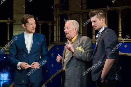 Scott Handy (Antonio), Ian McDiarmid (Shylock) and Tom Weston-Jones (Bassanio).