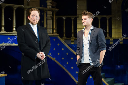 Scott Handy (Antonio) and Tom Weston-Jones (Bassanio).