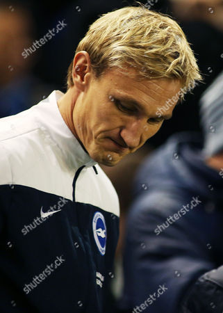 Brighton & Hove Albion Manager Sami Hyypia looks dejected.