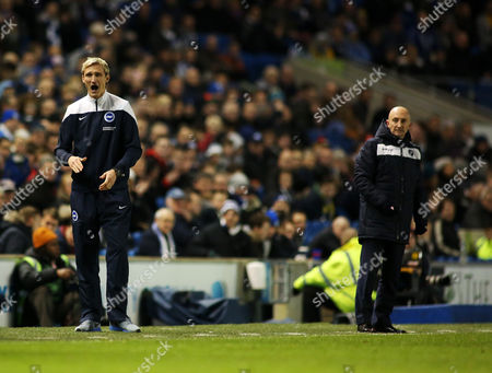 Brighton & Hove Albion Manager Sami Hyypia and Millwall Manager Ian Holloway.
